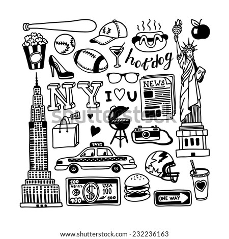 hand drawn new york doodles