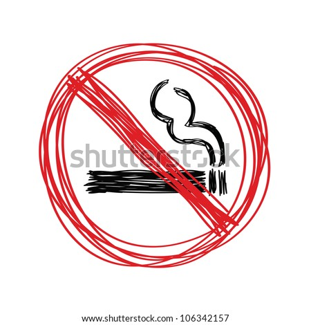 Hand drawn no smoking on white