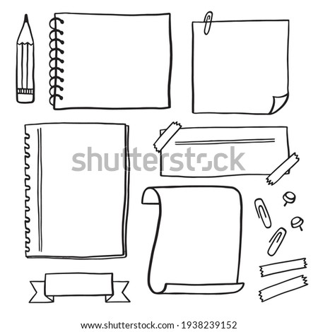 Hand-drawn note paper. A simple sketch journal sheet for notes and reminders. This is a cute drawing outlined with a pencil.