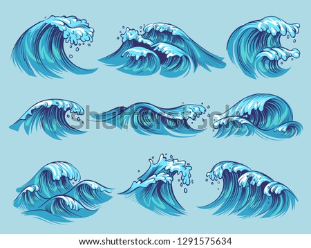 Hand drawn ocean waves. Sketch sea tidal blue waves tide splash hand drawn surfing storm wavy water doodle vector isolated vintage set