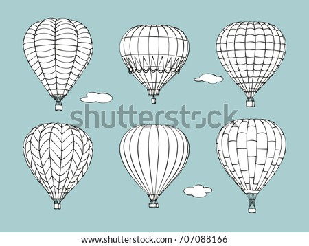 Hand drawn of a set of hot air balloons and clouds on pale blue background. Vector illustration.