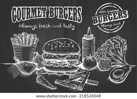 hand drawn of burger and