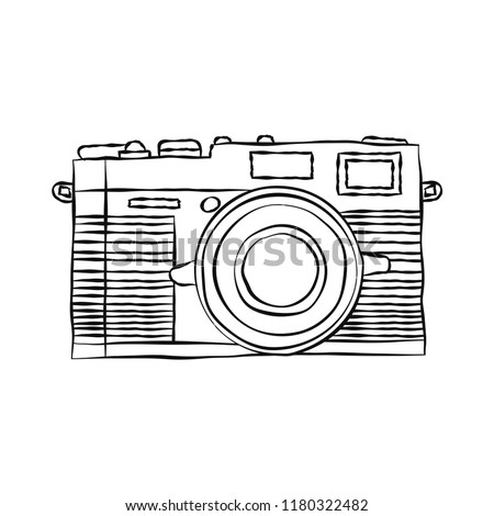 Hand drawn of Camera isolated on white background, in doodle style - Vector Illustration.