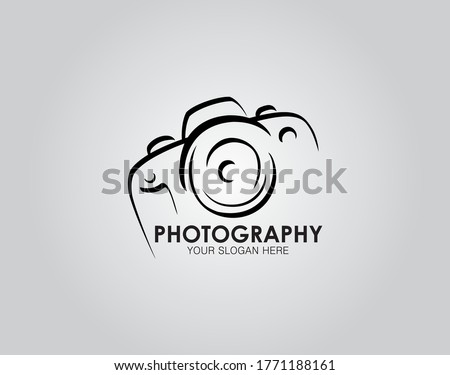 Hand drawn of camera photography logo, icon, design template