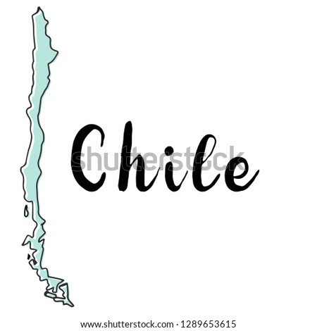 Hand drawn of Chile map, vector illustration