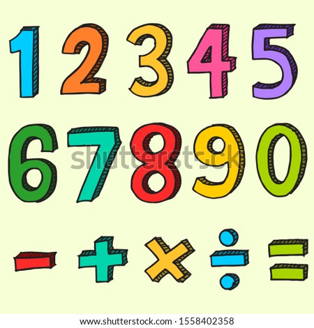 Hand drawn of colorful numbers. doodle numbers for children's themes isolated.