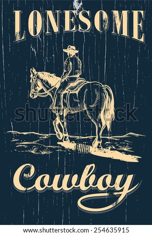 hand drawn of cowboy riding