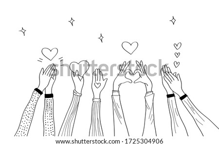 hand drawn of hands up. hands clapping. Concept of charity and donation. Give and share your love to people. hands gesture on doodle style , vector illustration