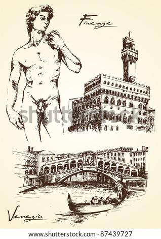 hand drawn of italian monument...
