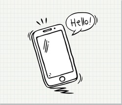 Hand drawn of Smart Phone  . Hand drawn sketch in vector