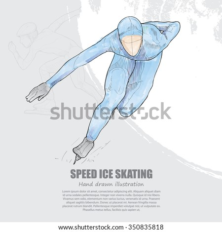 hand drawn of speed ice skating