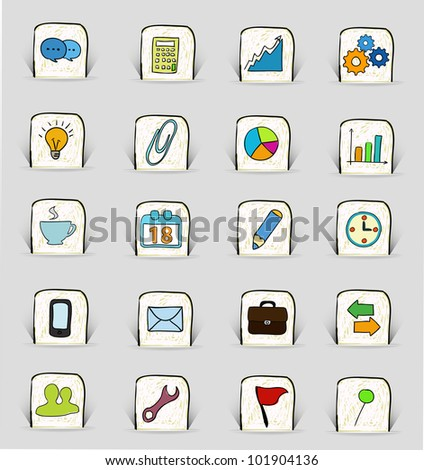 hand drawn office icons set