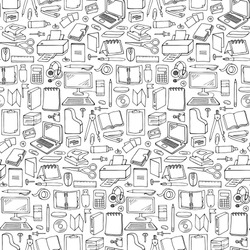 Hand drawn Office seamless pattern. Vector illustration with doodle office seamless pattern for wrapping, backgrounds, wallpapers, textile prints