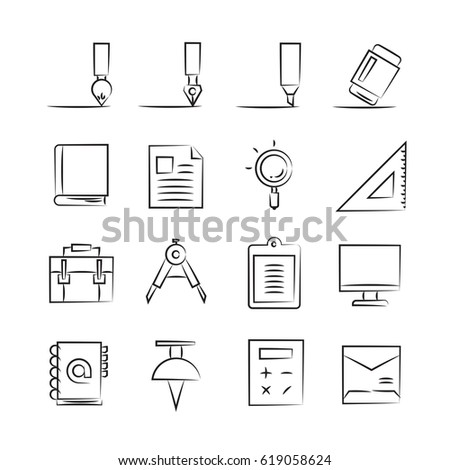 hand drawn office supply icon set #619058624