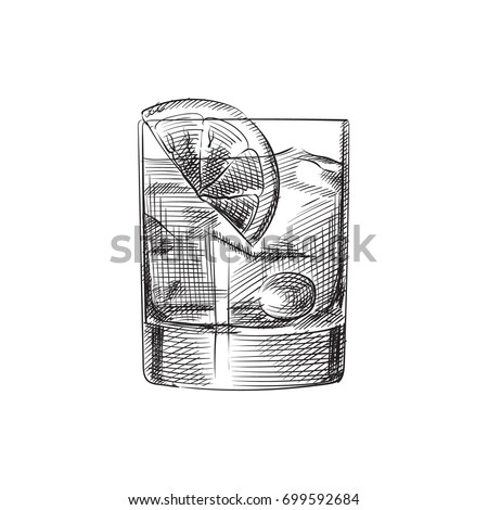 Hand Drawn Old Fashioned Sketch Symbol. Vector Beverage Element In Trendy Style.