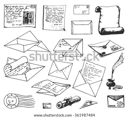 hand drawn old post envelope