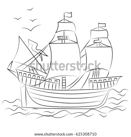 hand drawn old ship with birds