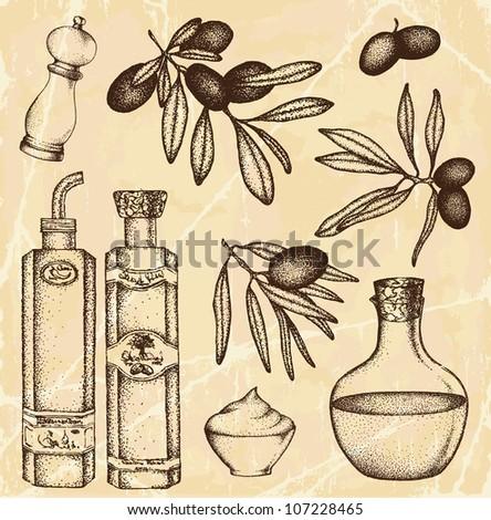Hand-drawn olive set