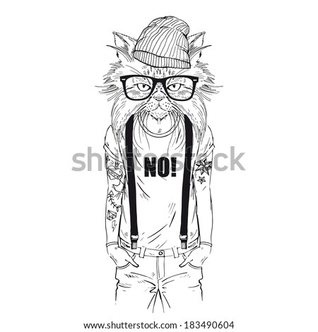 Hand drawn one color sketch of cat dressed up in t-shirt with quote isolated on white