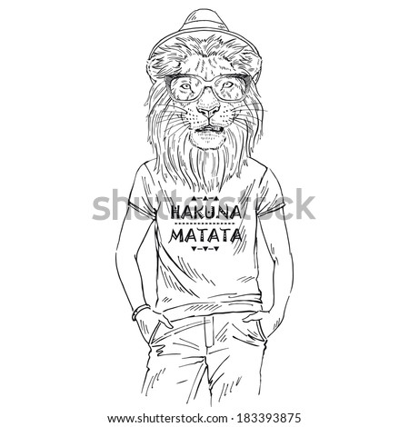 Hand drawn one color sketch of lion dressed up in t-shirt with quote Hakuna Matata isolated on white