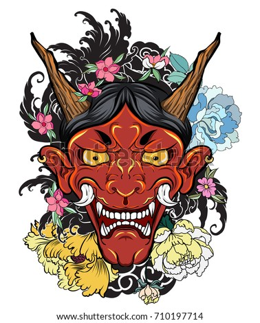 hand drawn Oni mask with cherry blossom and peony flower.Japanese demon mask on wave and sakura flower tattoo. ストックフォト ©