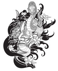 Hand drawn Oni skull entwined by snake.japanese tattoo ; oni mask and snake tattoo