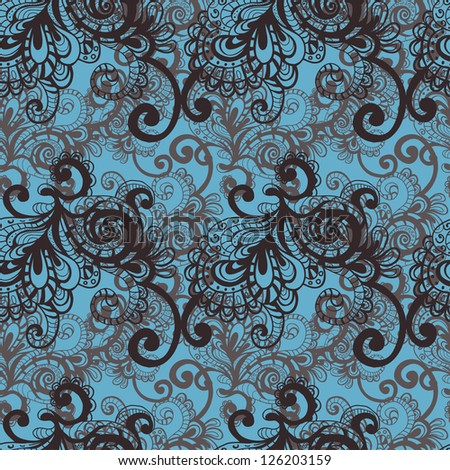 Hand drawn openwork vector seamless pattern in blue and chocolate