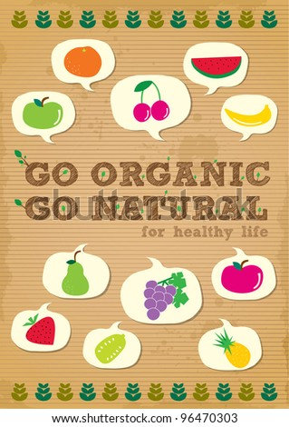 hand drawn organic campaign promotion poster design with fruits element