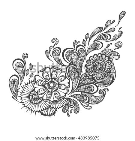 Hand Drawn Oriental Floral With Ethnic Ornaments Doodle Pattern