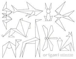 Hand-drawn origami animals made with ink pen. Vector logo templates collection