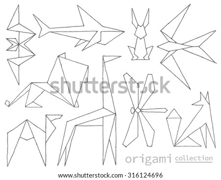 hand drawn origami animals made