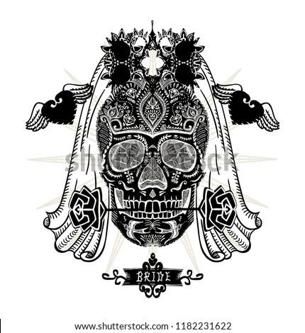 Hand drawn ornamental decorated bride skull, sugar skull with veil, t-shirt design concept, tattoo sketch, vector illustration Foto d'archivio ©