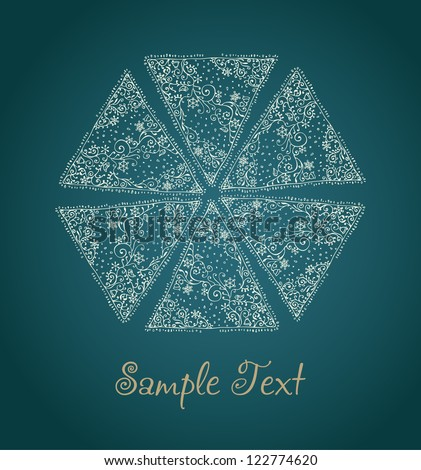 Hand drawn ornamental illustration of ornate linear snowflake and sample text. Template for design and decoration