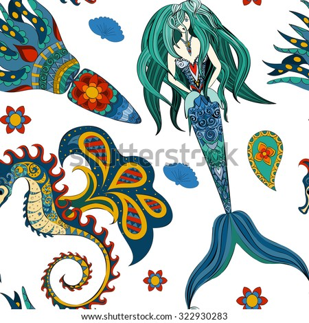 hand drawn ornamental mermaid