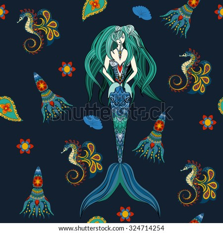 hand drawn ornamental mermaid
