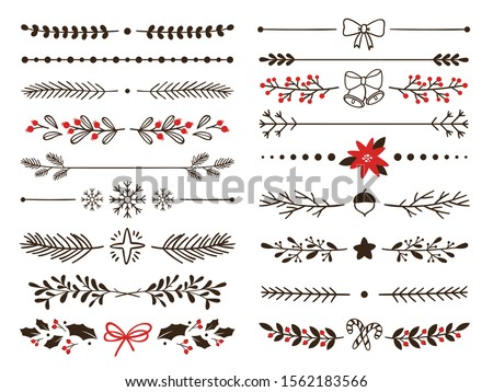 Hand drawn ornamental winter dividers. Snowflakes borders, Christmas holiday decor and floral ornate dividers. Ornamental wedding or Xmas card floral frames separators. Isolated vector symbols set Foto stock ©