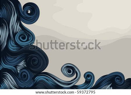 Hand Drawn ornate abstract wave