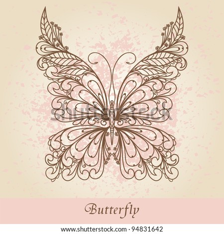 Hand-Drawn Ornate Butterfly  Doodle Vector Illustration