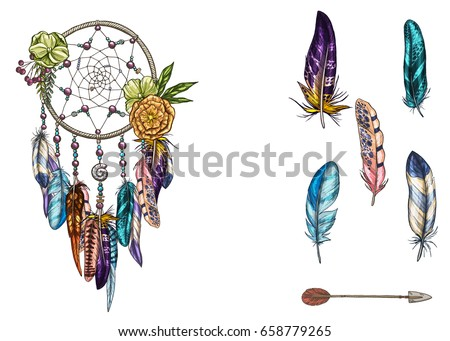hand drawn ornate dream catcher