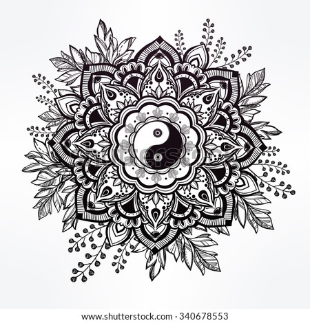 hand drawn ornate flower in the