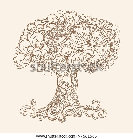 Hand-Drawn Ornate Tree Doodle Vector Illustration