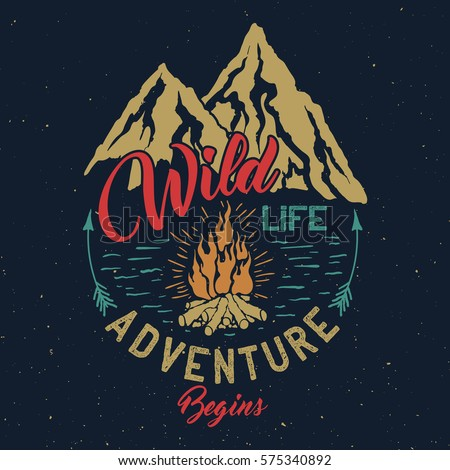 Hand drawn outdoor adventure vintage emblem with Wildlife inscription. Typography design for t-shirt,poster, flyer and other print.