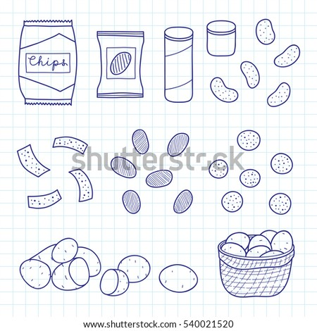 hand drawn outline chips