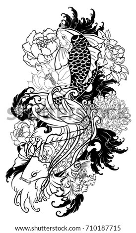 Hand Drawn Outline Koi Crap Fish Tattoo With Flower Japanese Tattoo