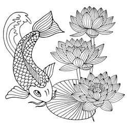 hand drawn outline koi fish ,gold Japanese carp with lotus flowers line drawing coloring book vector image