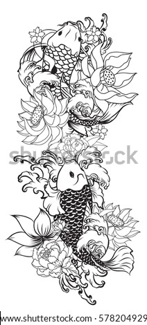 hand drawn Outline koi fish tattoo with flower , tattoo design