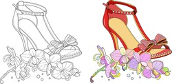Hand drawn outline ornamental high heel shoe illustration. Nearby is an orchid flower. Zen art style illustration. Colouring page for adult coloring book with sample.