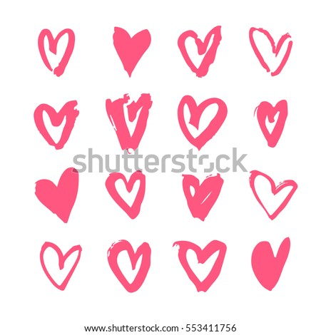 Hand drawn paint card. Pink and white hearts background. Abstract brush drawing. Grunge Vector art illustration