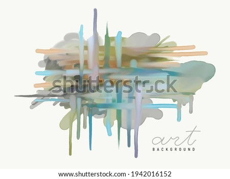 Hand drawn painting watercolor. Abstract art background. Freehand drawing. Vector painting on canvas. Contemporary colorful canvas. Colored texture. Spots of paint. Brush strokes of paint. Modern art.