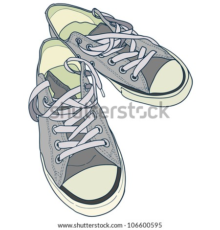 Hand drawn pair of grey sneakers on white background. Vector illustration.